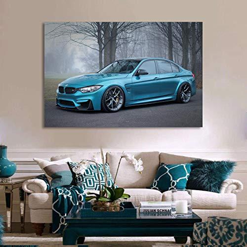woplmh Wandkunst Wohnkultur Leinwand BMW M3 Blau Metallic Supercar Gemälde Moderne Bilder HD-Druck Cartoon Modular Poster Wohnzimmer / 60x90cm-Kein Rahmen