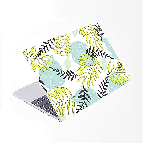 SDH Newest MacBook Pro 13 inch Case 2020 Release Touch Bar & ID Model: A2289 / A2251, Plastic Pattern Hard Shell & Laptop Sleeve Bag & Keyboard Cover Skin 4 in 1 Bundle, Beautiful Leaves 1