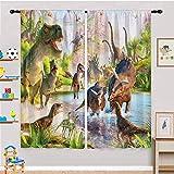 ANHOPE Dinosaur Curtains for Boys Bedroom, Jurassic World Jungle Animals Pattern Microfiber Blackout Fabric Rod Pocket Window Drapes for Kids Youth Teen Nursery Playroom 29.5' W X 65' L 2 Panels