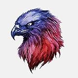 Kerri-007 2 pegatinas pintadas a mano con cabeza de águila para coche, para motocicleta, protección solar, impermeable, PVC, 15 x 12 cm (tamaño: 15 x 12 cm)