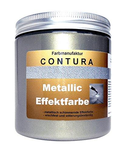 CONTURA Effektfarbe Altsilber 100ml Antik Silber Metallic Effekt Lack Shabby Chic Farbe Schablone zum schablonieren Bastelfarbe