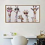 Babyzimmer Graffiti Kunst Tier Giraffe Familie Leinwand