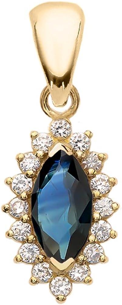 Diamond and Sapphire 14k Yellow Gold Fancy Pendant