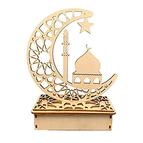 Fikujap Wooden Eid Mubarak Moon Star Islam Pendant with LED Lights, Moon Star Curtain Lights Ramadan Light Islamic Muslim, Decoration for Parties At Home,A