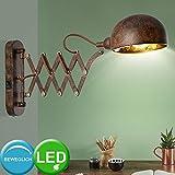 Wand Lampe rost gold Wohn Arbeits Zimmer Wand Strahler verstellbar m Set inkl. LED Leuchtmittel