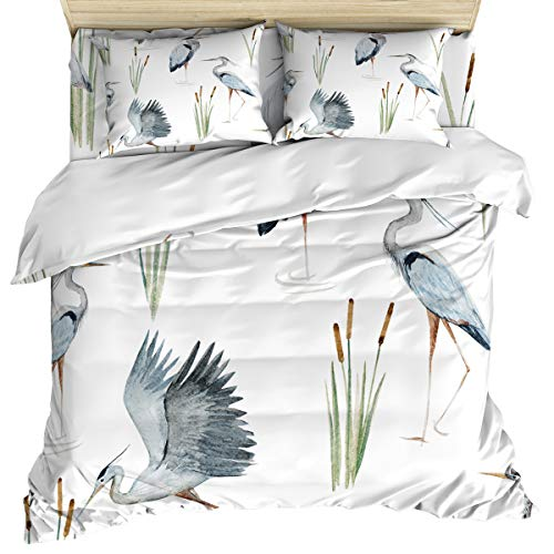Luxury 4 Piece Bedding Set Queen Size, Watercolor Pattern with Birds Heron in The Water Reeds Heron Duvet/Comforter/Quilt Cover Set with Bed Sheet Pillow Shams for Kids/Teens/Adults/School