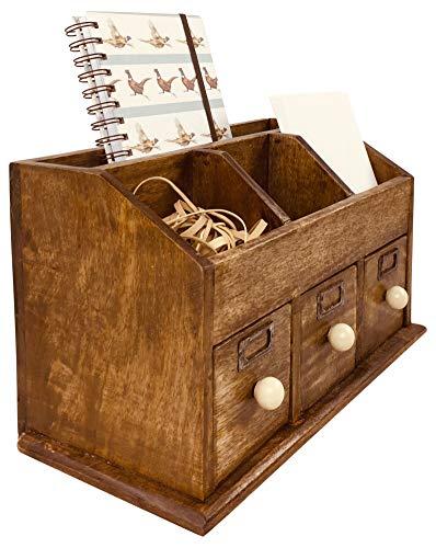 Geko Rustic - Organizador de Escritorio con cajones (37 cm), Color marrón