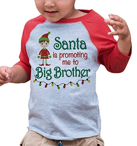 7 ate 9 Apparel Kids Big Brother Christmas Raglan Shirt Red 18 Months