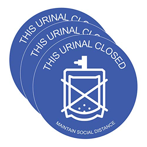 This Urinal Closed Sticker 6' Stickers for Doors / Walls - Signage Keep Apart Sign for Public Places - Distance Covid-19 Safety Notice Decals for Businesses - Commercial Grade (3 Pack, Dark Blue)