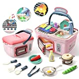 CUTE STONE Kids Play Kitchen Picnic Playset,Portable Picnic Basket Toys with Musics
