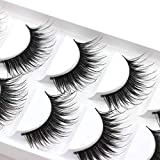 Connoworld 5 Pairs False Eyelashes Synthetic Fibre Natural Thick Long False Eyelashes Handmade Lashes Extension Makeup HW-18