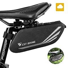 Cykel Sadel väska, vattentät cykel förvaringsväska med reflekterande Stripe, stor kapacitet Mountain Bike Road Bike bakväska för Mini Cykelpump Reparation Verktyg, Cykel tillbehör