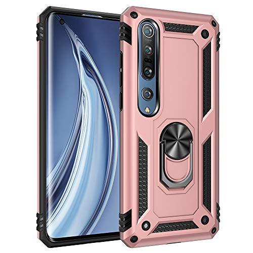 Funda para Xiaomi Mi 10 5G Teléfono Móvil Doble Capa Silicona Bumper Case con 360 Grados Rotaria Ring Holder Protectora Armor Cover [Protección contra Caídas Reforzada] (Rosado)