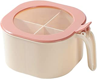 Cmstop Boîte à épices conteneur de Rangement en Plastique 4 grilles étui à Condiments avec Couvercle et cuillères pour ass...