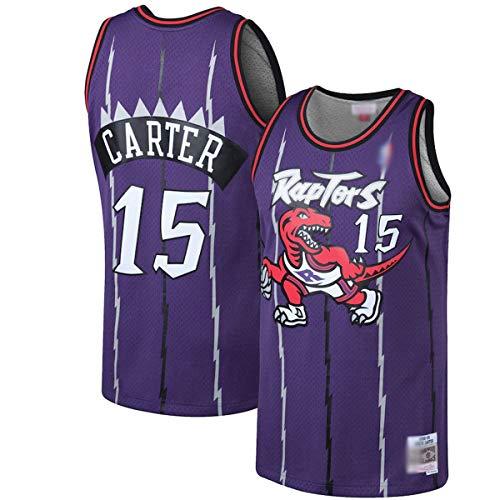 WEVB Ropa de baloncesto al aire libre Vince Toronto NO.15 Púrpura, Raptors Carter 1998-99 Clásicos de madera dura Swingman Jersey de secado rápido Deportes de manga corta para hombres