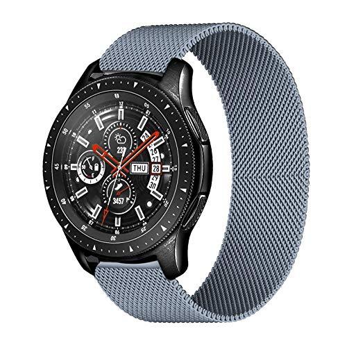 PZZZHF Correa de 20 mm 22 mm para Samsung Galaxy Watch 46 mm 42 mm Gear S3 Frontier Watch 3 45 mm 41 mm Active 2 para Huawei Gt 2 Amazfit Bip Band (color de la correa: gris, ancho de la correa: 20 mm)
