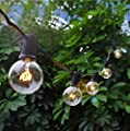 Boutique window 25Ft Outdoor Patio String Lights with 25 Clear Globe G40 Bulbs,UL Certified for Patio Porch Backyard Deck Bistro Gazebos Pergolas Balcony Wedding Gathering Parties Markets Decor