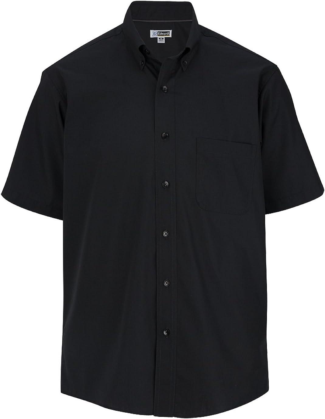 Edwards Garment Men's Big And Tall Wrinkle Resistant Poplin Shirt_BLACK_3XLT