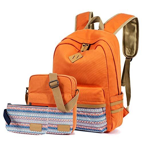 Leaper Rucksäcke für Teenager Mädchen Teenager Rucksack Set Schultaschen Büchertaschen 3-in-1, Orange (Orange) - BP5275