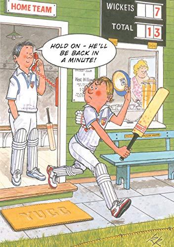 Humorvolle Glückwunschkarte (ld2060)–Geburtstag–Cricket–Back in a minute–aus der Reihe Rainbow Karten.