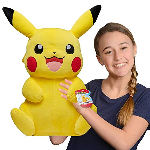 """Pokemon Pikachu Giant Plush, 24"""" - Adorable, Ultra-Soft, Life Size Plush Toy, Perfect for Playing & Displaying - Gotta Catch 'Em All"""