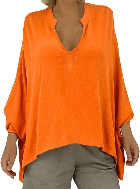 Women S Autumn Solid Color Tops YuhooSun Plus Size Deep V Neck Shirts Long Sleeve Irregular Blouses Long Sleeve Tunic