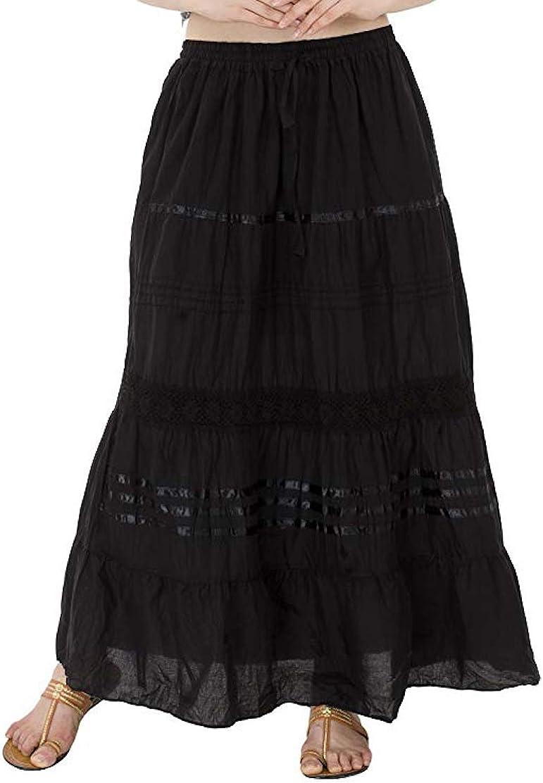 OMA Women's Cotton Lace & Ribbon Tiered Peasant Boho Long Maxi Skirt - Premium Quality