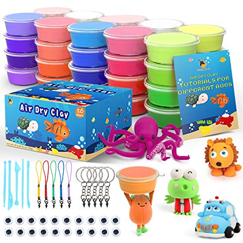 36 Colors Air Dry Clay Kit for Kids, Magic Modeling Clay Ultra Light Clay with Sculpting Tools, Accessories & Tutorial Book, Arts Crafts Gift for Boys Girls & Students