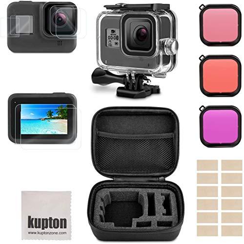 Kupton Zubehör Kit für GoPro Hero 8 Bundle Enthält wasserdichte Gehäusetasche+ Displayschutzfolie aus Gehärtetem Glas + Tragetasche+ Schnorchelfilter+ Anti-Fog-Einsätze für Go Pro Hero8