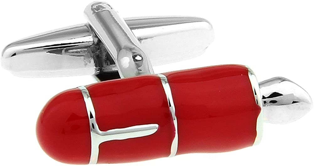 Mens Executive Cufflink Office Collection Red Enamel Writers Fountain Pen Nib Cuff Links