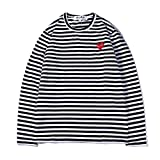 yur67 Cotton Striped Long Sleeves Heart Play Print Plus velve Fashion Round Neck Sweater for Men and Women