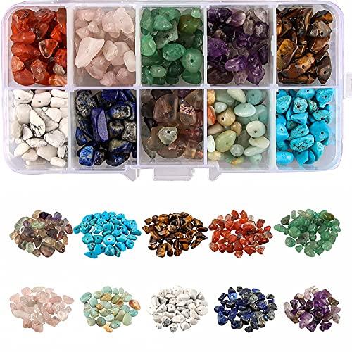 Esportic® Irregulares Piedras Colores, Piedras Preciosas(10 Colores), Cuentas de Piedras Preciosas, Cuentas de Piedras Preciosas Irregulares Kit para manualidades y joyas, 4-8 mm,6-8 mm. (4-8mm)