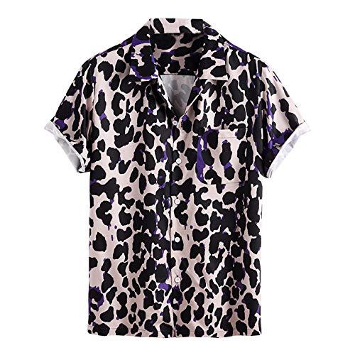 Camisa de Manga Corta para Hombre Camisa con Estampado de Leopardo de Moda de Verano Europea y Americana...