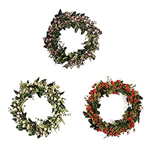 Silk Flower Arrangements JFBUCF Artificial Fragrant Snowball Wreath,Simulation Oil Painting Fragrant Snowball Flower Wreath Artificial Spring Wreath for Wall Wedding Home Decor.-Red