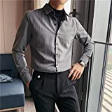 Camisa de Cuadros Autumn Winter New Striped Shirts for Men Clothing Simple Business Formal Wear Casual Blouse Homme Black/Gray AsianXXL65-72KG Gray