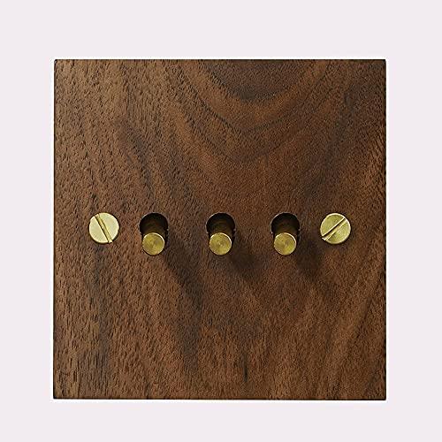 Foicags Tipo de interruptor 86 Interruptor IMITACIÓN 1-4 GANG GAND 2 VÍA ONE DOBLE CONTROL LÁPARA PANEL DE MADERA Retro Panel Retro Cambio de palanca de cobre for paredes domésticas Interruptor de pal