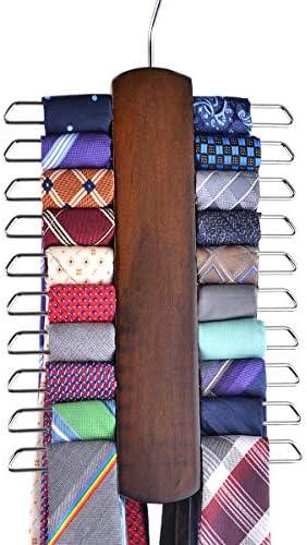 Umo Lorenzo Premium Wooden Necktie and Belt Hanger Walnut Wood Center Organizer and Storage product image