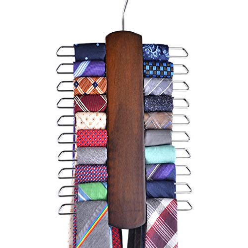 Umo Lorenzo Premium Wooden Necktie and Belt Hanger Walnut Wood Center Organizer and Storage Rack with a Non-Slip Finish - 20 Hooks Wooden