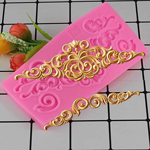 GEYKY Barock Schriftrollen Relief Silikonform Flower Vine Kuchen Dekorationswerkzeug Cupcake Schokolade Gumpaste Clay...
