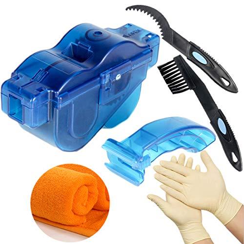 T-wilker Limpiador de Cadena de Bicicleta, combinación de cepillos de limpieza y guantes de látex y ToallasCadena de Bici Herramienta de Limpieza rápido Limpiador(azul transparente)