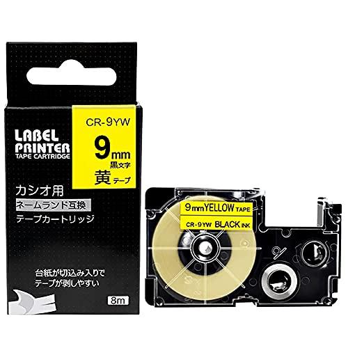 9mm 黄 互換 ネームランド テープ 黄地 黒文字 1個 カシオ ラベルライター XR-9YW テープカートリッジ CASIO Name Land KL-TF7 KL-P4SE 対応 Greateam