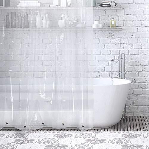 ANSIO Cortina de Ducha 100% EVA Impermeable, Forro de Cortina de baño Resistente al Moho y al Moho con Ganchos para Cortinas, 180 x 180 cm (71 x 71 Pulgadas) - Transparente