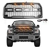SUNPIE 15-17 F150 Grill Raptor-Style Front Bumper Gray Grille for F150 2015/2016/2017 (F&R LETTERS NOT INCLUDED)