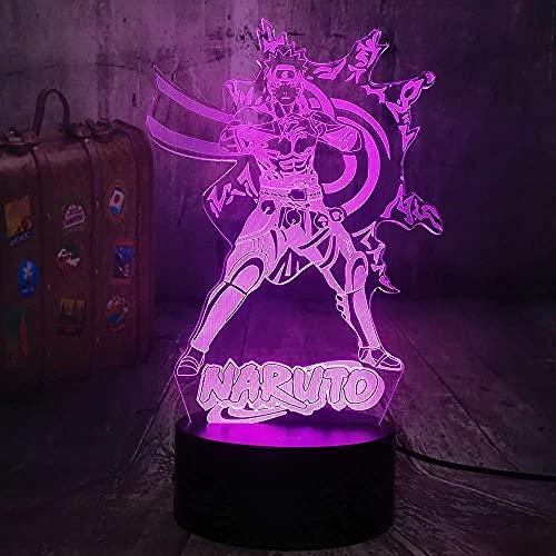 Japón Naruto anime 3D lámpara de mesa Naruto LED noche luz dormitorio decoración regalo