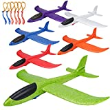 BooTaa 6 Pack Airplane Toys, Upgrade 17.5' Large Throwing Foam Plane, Glider Plane, Flying Toy for Kids, Gifts for 3 4 5 6 7 Year Old Boy, Outdoor Sport Toys Birthday Party Favors Foam Airplane