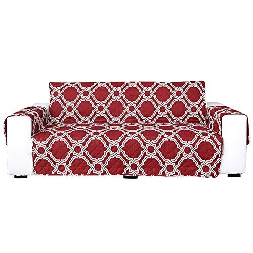 YRRA Anti-Deslizante Sofá de Dos plazas Fundas de sofá, Reversible Funda Sofá Lavable, para Sala de Estar Silla reclinable Sillón,Rojo,3 Seater