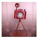 WYZ A Hoy Reloj de Escritorio Cámara de Moda Antigua de Hierro Forjado Reloj de pie Sala de Estar Dormitorio Decoración del Reloj Mute Reloj de péndulo Reloj Familiar (Color : A)