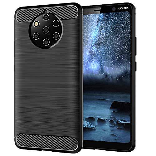 NEWZEROL Ersatz für Nokia 9 Pureview Hülle [Slim-Fit] [Kratzschutz] [Stoßdämpfung] Brushed Grip Case Cover TPU Schutzhülle Weiche Handyhülle - Schwarz
