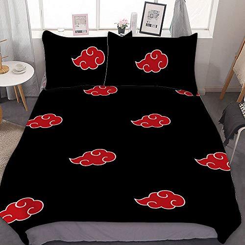 Akatsuki Symbol Anime 3D Duvet Cover Set Japanese Anime Bedding Set for Girls 100% Soft Microfiber Bed Set Including 1Duvet Cover, 2Pillowcases (Twin Full Queen King Size)