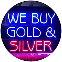 We Buy Gold Silver Shop Dual Color LED看板 ネオンプレート サイン 標識 赤色 + 青色 300 x 210mm st6s32-i3508-rb